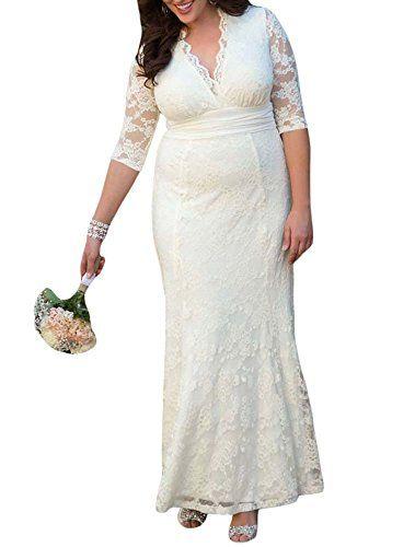 MAX MALL Damen V-Ausschnitt Halbarm Lange Abendkleid Übergröße Spitze Brautjungfer Hochzeitskleid: Amazon.de: Bekleidung