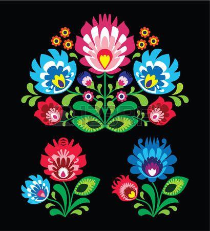 Patr�n polaco floral popular bordado en negro - Lowicki Wzor photo