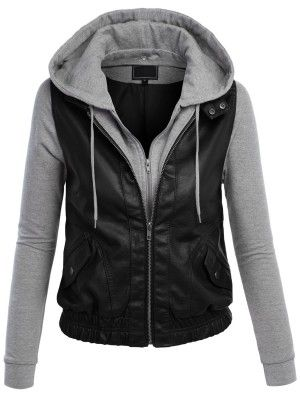 Leather Jacket Women Grey With Hood