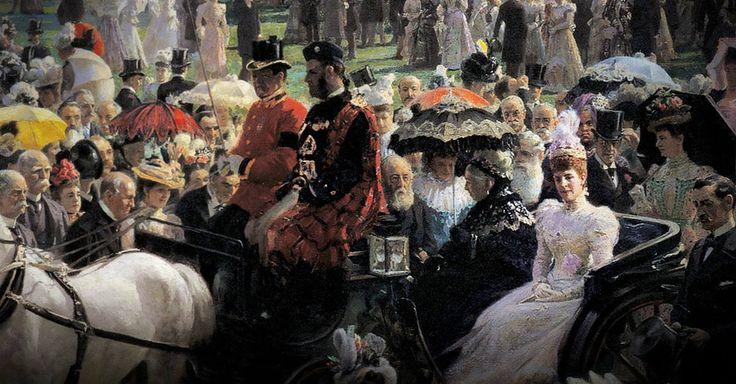 """Udsnit fra Laurits Tuxens """"Havefesten på Buckingham Palace, den 28. juni 1897"""" med Dronning Victoria i hestevogn foran 5000 indbudte gæster fra hele det britiske empirium, en tradition som Victoria selv indførte i 1863, og som stadig finder sted hvert år."""