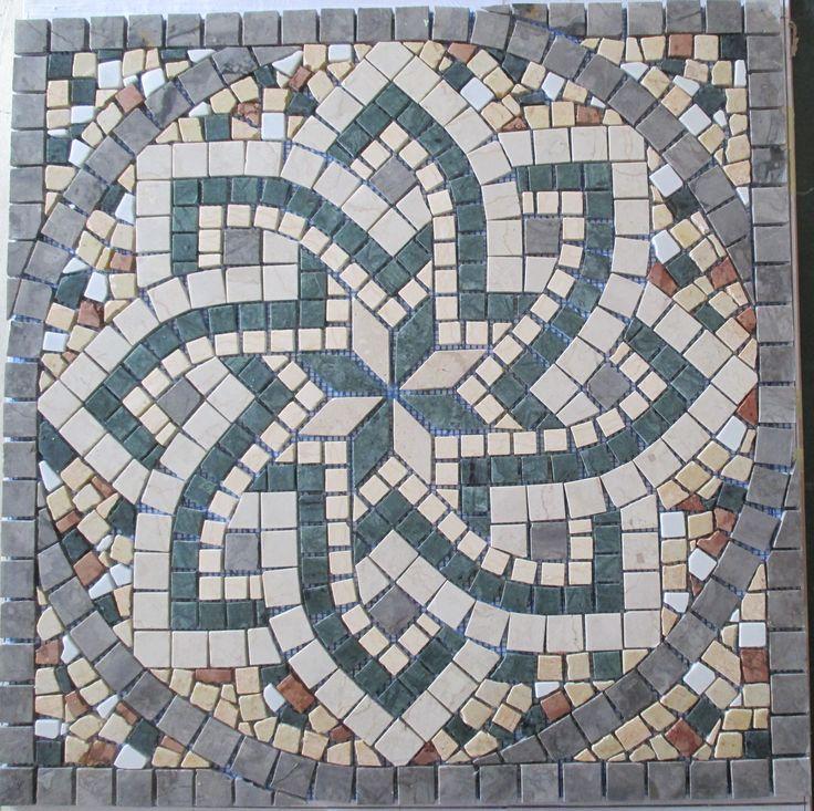 ROSONE di mosaico in marmo montato su rete 66x66 [cm] x S 0.75