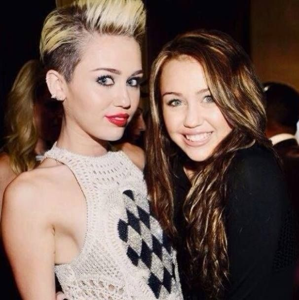 Celebs posing with old versions of themselves: Miley Cyrus and Miley Cyrus