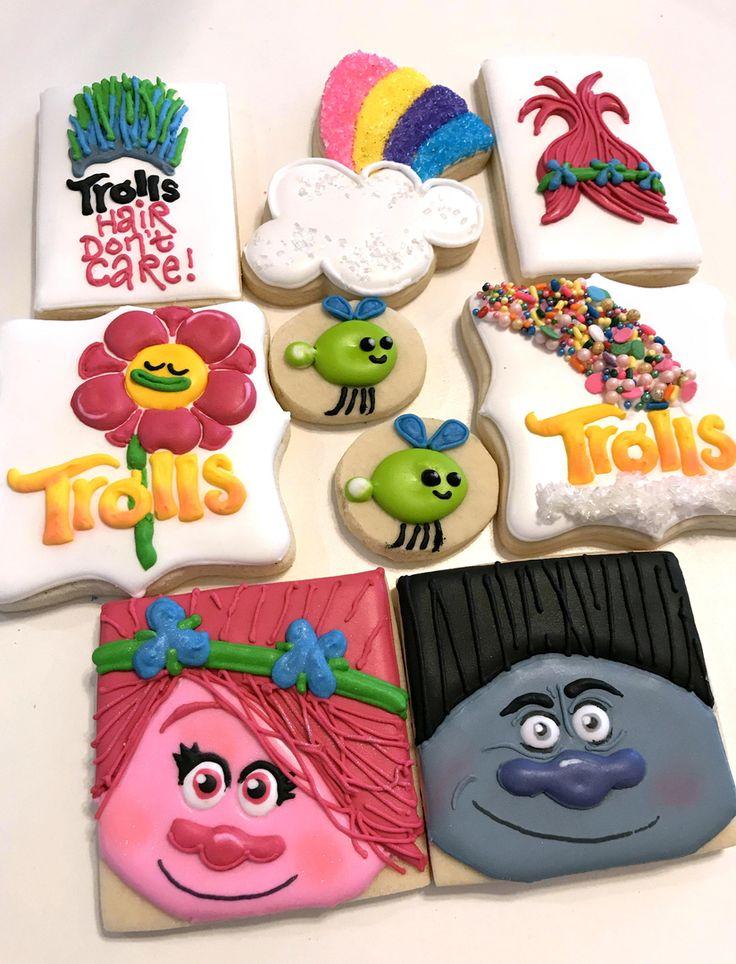 Troll cookies, Poppy, Branch, rainbow, troll hair cookies