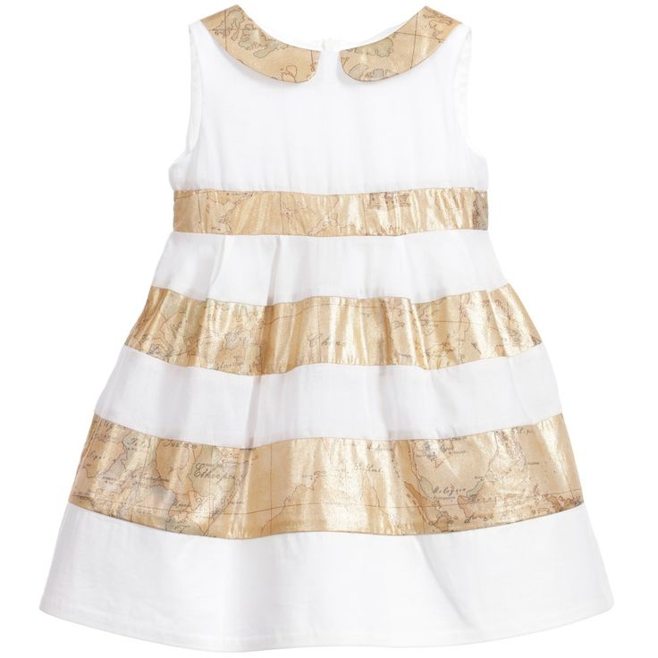 Delightful, sleeveless, white cotton dress by Alviero Martini with the designer's signature dark gold vintage map print in bands around the dress and forming the sweet Peter Pan collar. Fully lined, this beautiful dress has a concealed zip.There is a light cotton lining, with two tulle net frills attached, to give more shape.