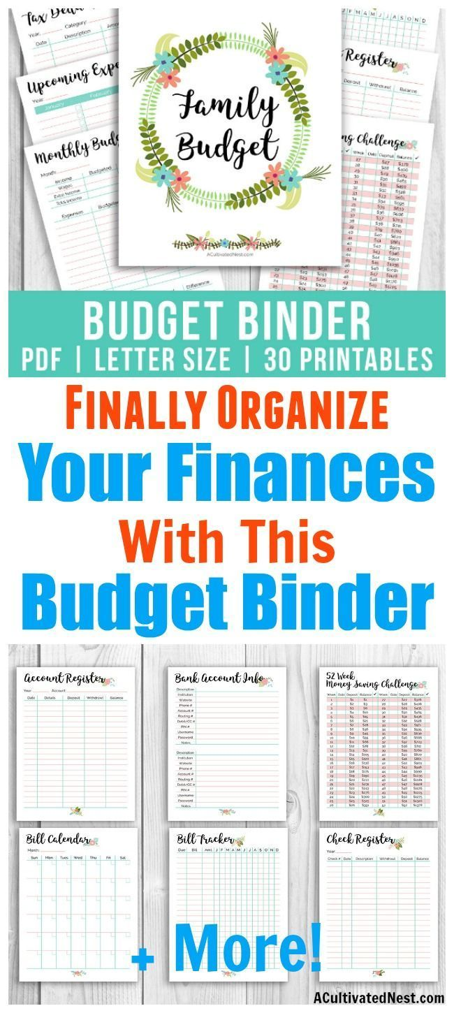printable budget binder floral money saving challenges