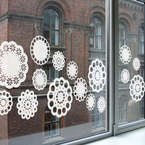 Doilies: Window Film, Window Display, Window Ideas, Window Decals, Snowflakes Window, Christmas Window, Window Decor, Window Stickers, Windows Decor