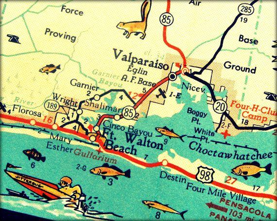 DESTIN map beach decor 1960s Florida art print by VintageBeachMaps, $44.00