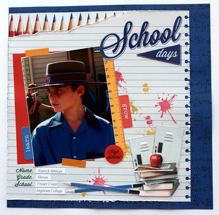 """""""School Days"""" Double Page Layout (Page 1) by Collette Mitrega for Kaisercraft '2 Cool 4 School' Collection ~ Scrapbook Pages 3."""