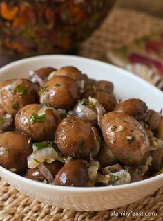 Marinated Mushrooms | www.afamilyfeast.com | #appetizer #mushrooms   A super flavorful recipe for marinated mushrooms.  This was a long-time favorite recipe served at a private dining club in Boston for years!