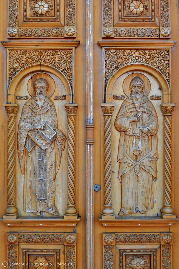 Carved door on the chapel of St. Cyril and St. Methodius.  Cathedral of the Assumption Monastery Achairskaya
