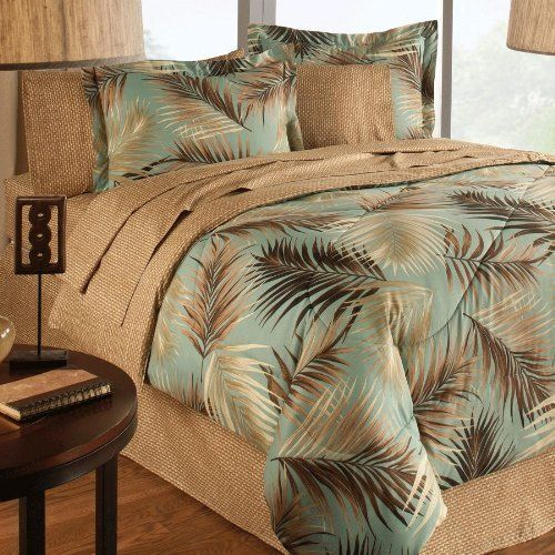 """8pc Beach Tropical Palm Tree Coastal Full Bed in a Bag by LC. $96.00. Machine wash for easy care.. 100 percent polyester microfiber. Full - Comforter 76""""Wx86""""L, Bedskirt 54""""Wx76""""L, Two Standard Pillow Shams 20""""Wx26""""L, Two Standard Pillowcases 20""""Wx30""""L, Flat Sheet 81""""Wx96""""L and Fitted Sheet 54""""Wx76""""L"""