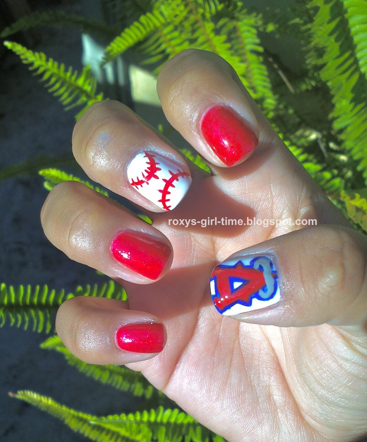 Angel's Baseball nails...made me think of you @Phyllis Bragg