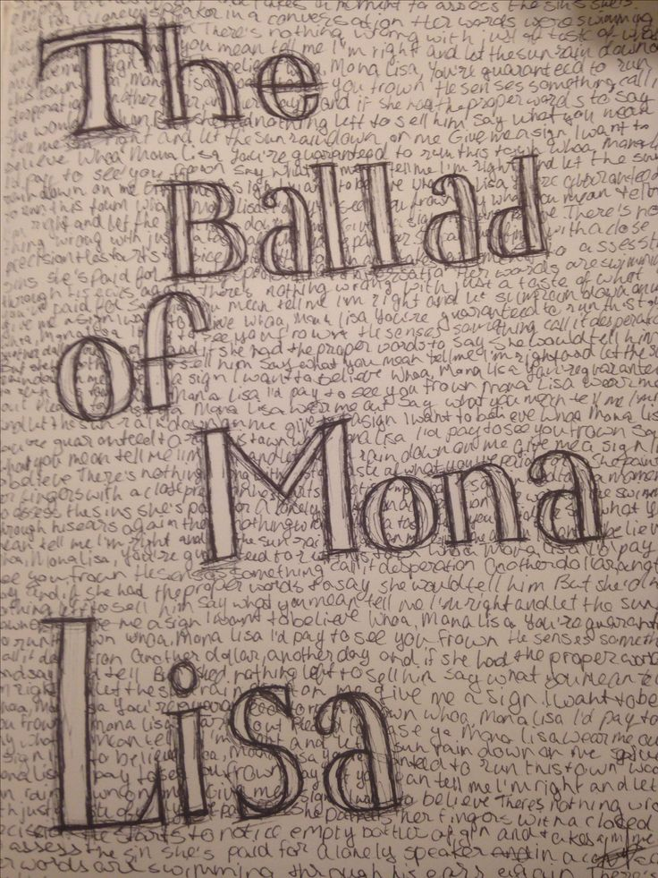 Sketching song titles and lyrics to kill some time is always fun The Ballad of Mona Lisa Panic! At the Disco