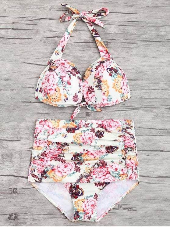 68ea324f6e Swimwear · Trendy Floral Ruched Push Up High Waisted Bikini