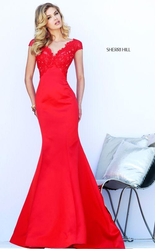 Red Lace Prom Dress Sherri Hill