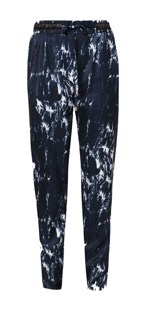 Loose Tapered Pants In Marble Print design by Zalia. Long pants with marble pattern give an edgy touch to your style, made from cotton blend, waist band, high rise, draw string fastening, this navy blue color pants sure will be your next favorite pants.    http://www.zocko.com/z/JJJEr