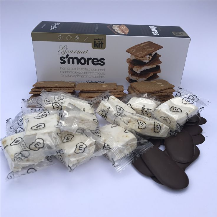 Our new Gourmet S'Mores Kit contains hand made Salted Caramel Marshmallows, luxury almond biscuits and Belgian chocolate thins and makes 12 amazing s'mores!
