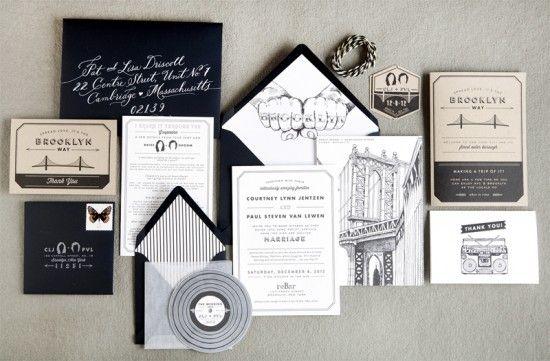 Brooklyn Wedding Invitations Swiss Cottage Design 550x361 Courtney + Pauls Brooklyn Wedding Invitations