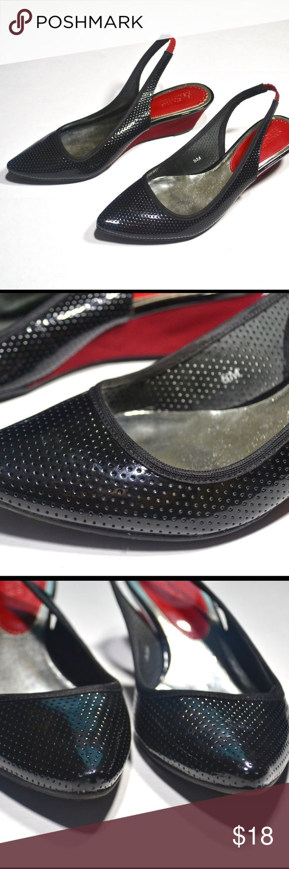 Kenneth Cole Reaction Slingbacks. Kenneth Cole Reaction Patent Leather Slingbacks with Red Wedge Heel (EUC). Kenneth Cole Reaction Shoes Wedges