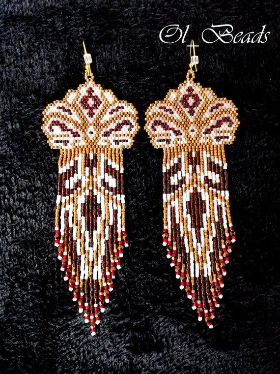 Native American Style Earrings, OOAK Beaded Earrings, Seed Bead Earrings, Long Fringed Earrings, Delica Seed Beads
