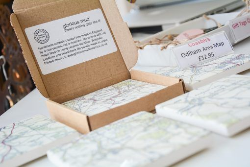 Local handmade ceramic coasters decorated with maps fired on. Areas include Odiham, Crondall, North Warnborough, South Warnborough and Long Sutton.