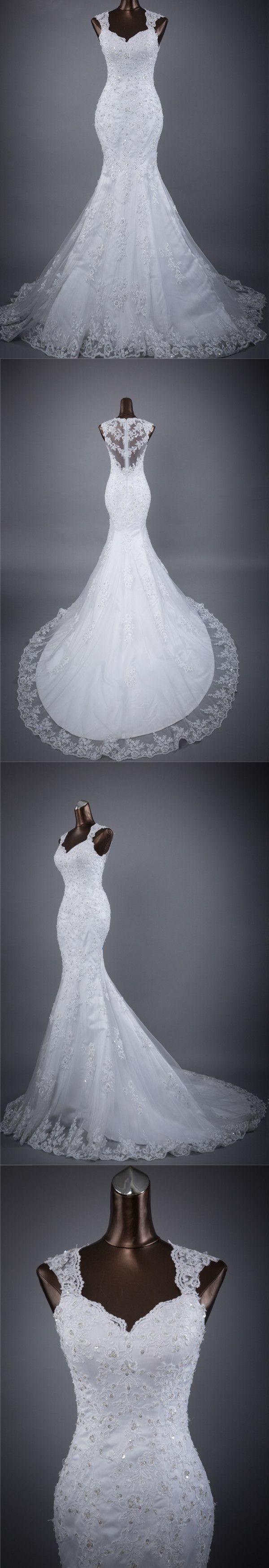 Mermaid Sweetheart Chapel Train Tulle Appliqued Beaded White Wedding Dresses ASD26961 #weddingdresses #mermaid #sweetheart #vintage #princess #white