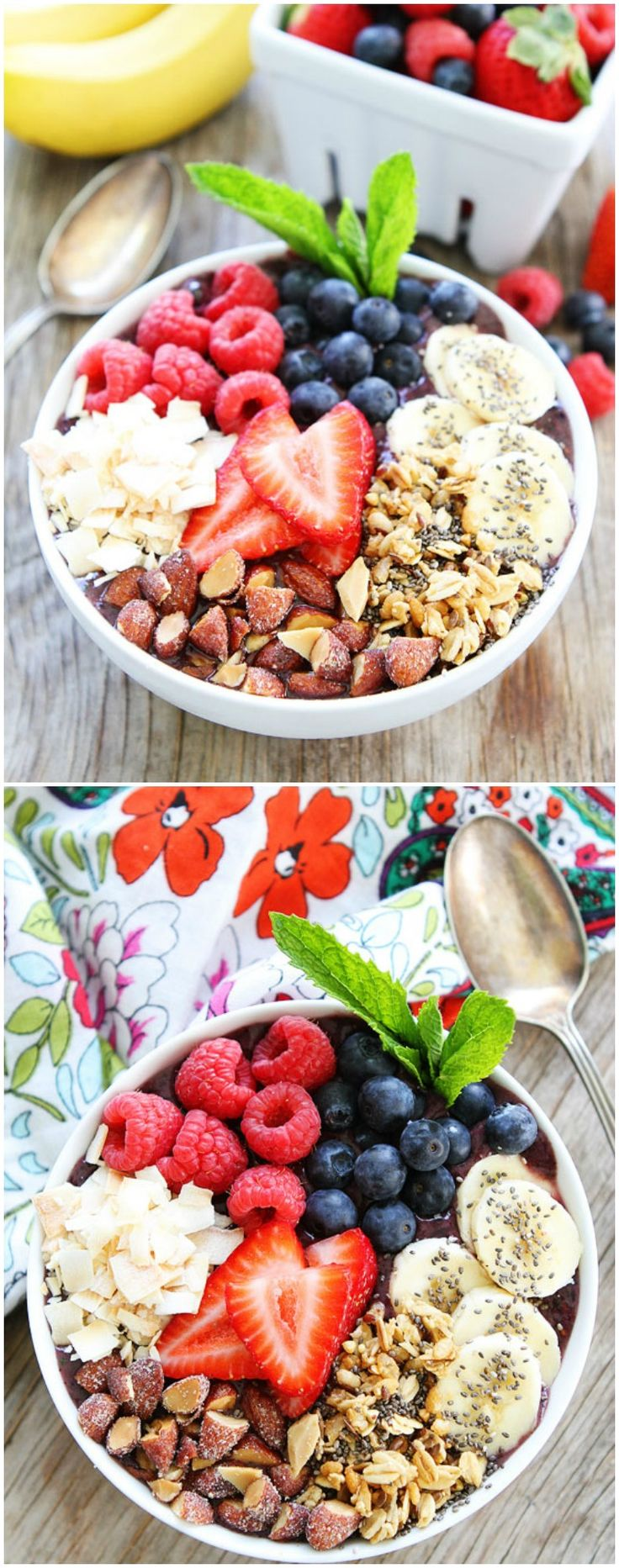 Berry Banana Smoothie Bowl Recipe on twopeasandtheirpod.com This easy and healthy smoothie bowl is great for breakfast, snack time, or dessert!