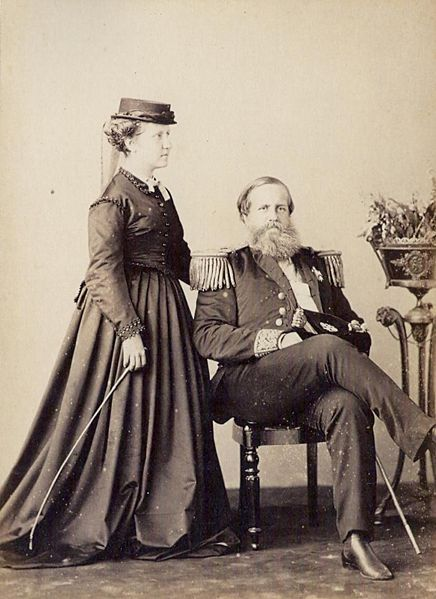 Isabel, Princess Imperial (1846-1921) and Dom Pedro II, Emperor of Brazil (1825-1891) -dressed as an Admiral-, 1870.