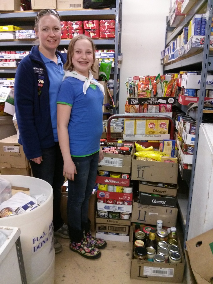 Diane and I volunteering at the Food Bank in Airdrie with Girl Guides.