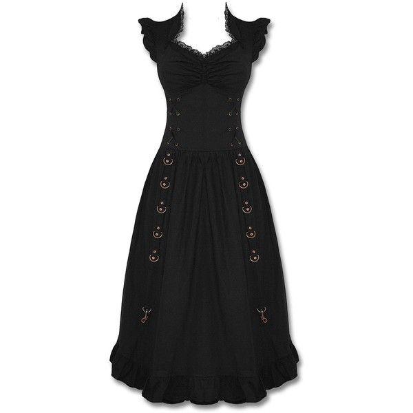 Banned Emporium Steampunk Dress Long Copper Goth VTG Victorian Corset ($92) ❤ liked on Polyvore featuring dresses, corset, victorian corset, gothic corset dress, steam punk dress and long corset