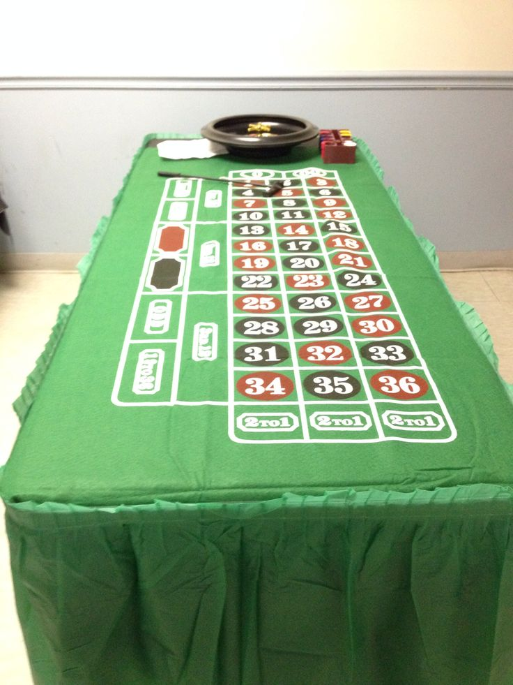 Roulette table for casino games at a casino themed party
