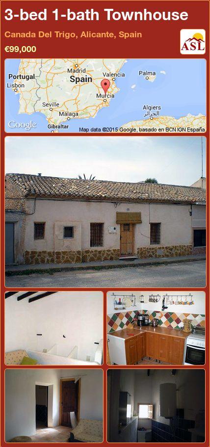 3-bed 1-bath Townhouse in Canada Del Trigo, Alicante, Spain ►€99,000 #PropertyForSaleInSpain