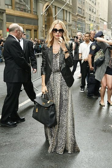 Rachel Zoe in a flowy printed maxi dress with LEATHER BLAZER...now if that's not a great example of contrast, I don't know what is.
