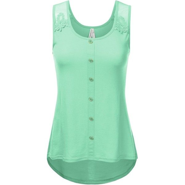 JJ Perfection Women's Round Neck Floral Lace Button Detail Tank Top ($14) ❤ liked on Polyvore featuring tops, round neck tank top, cami tank, camisole tank top, green cami top and camisole tops