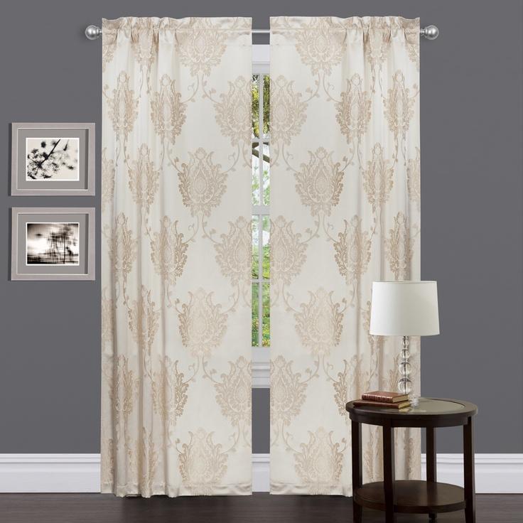 Medallion Classic Beige 84-inch Curtain Panel | Overstock.com