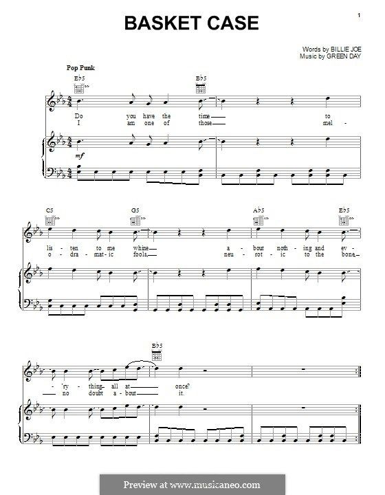Basket Case (Green Day): For voice and piano (or guitar) by Billie Joe Armstrong, Tré Cool, Michael Pritchard