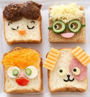 Sandwiches with super cute faces. : ) so much fun - add the ingredients to the lunchbox and let the kids make the funny faces - great way to teach children to enjoy fresh food.