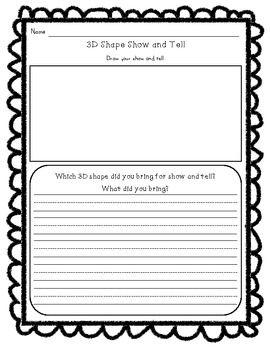Kindergarten 3D Shape Set K.G.3 Shape Cut and Glue Sort, Shape Sort, Shape Graph, Shape Show and Tell Writing, Mini-Printable Book
