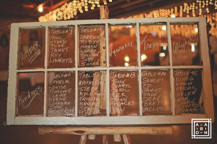 Antique Window Seating Chart on Rustic Floor Easel at the Hitch n Post