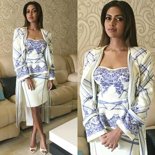 Printed Pencil Skirt and Long Coat, Amala Paul in Pencil Skirt, Amala Paul Outfits, Amala at a Cochin Event.