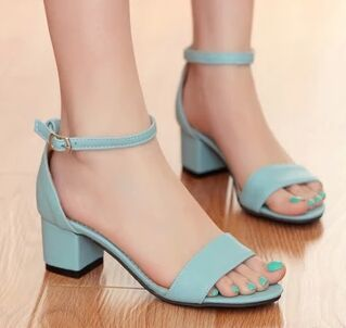 2015 summer new sweet small code 31 32  word type strap shoes comfortable thick with open-toed sandals large size 42 43 pumps