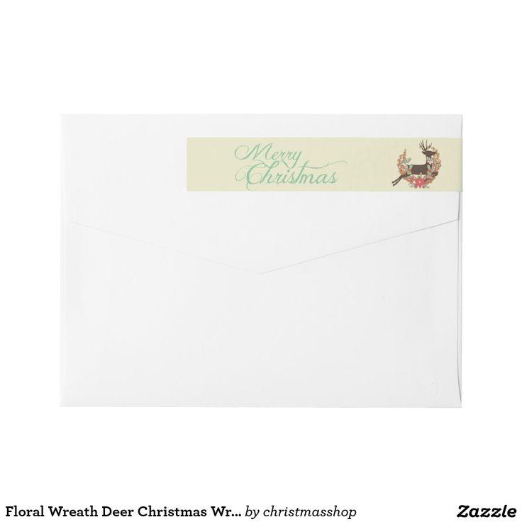 how to return address wedding envelopes%0A Floral Wreath Deer Christmas Wraparound Label Wraparound Return Address  Label