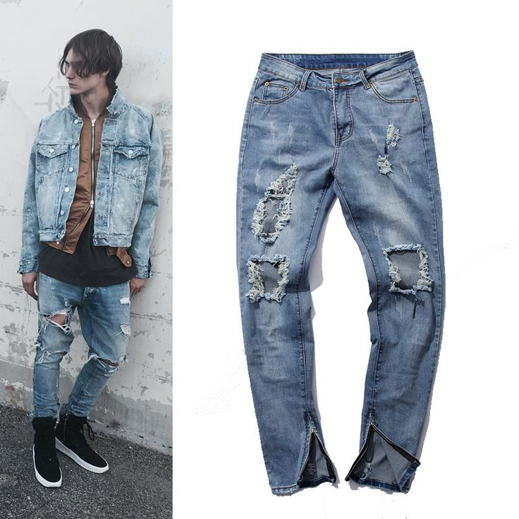 Fashion Hi-Street Mens Destroyed Jeans With Zippers Ripped Hip Hop Jeans With Holes On the Knee Distressed Denim Joggers //Price: $US $28.71 & FREE Shipping //
