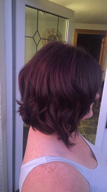 Plum red hair colour with a little disheveled bob #wavy #hair #bob
