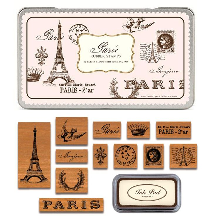 Paris Rubber #Stamps set with Ink Pad in a #vintage tin.