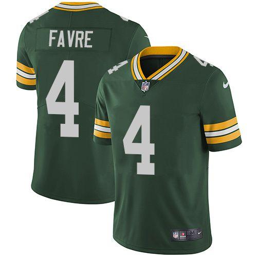 Men's Green Bay Packers #4 Brett Favre Nike Green Vapor Untouchable Limited Player Jersey 40% off Select NFL Jerseys