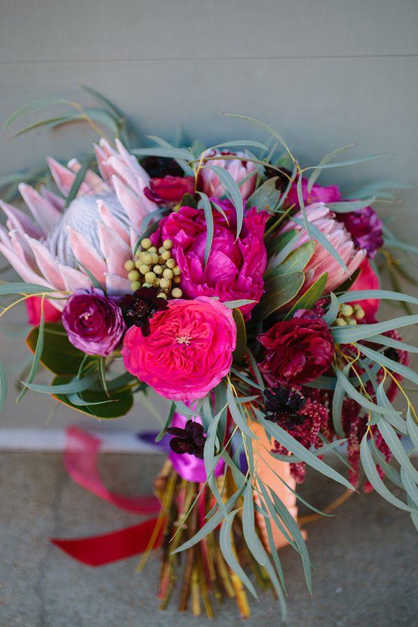 fuchsia bouquet - photo by Photos by Heart http://ruffledblog.com/summer-garden-wedding-ideas-in-chattanooga #weddingbouquet #flowers #bouquets