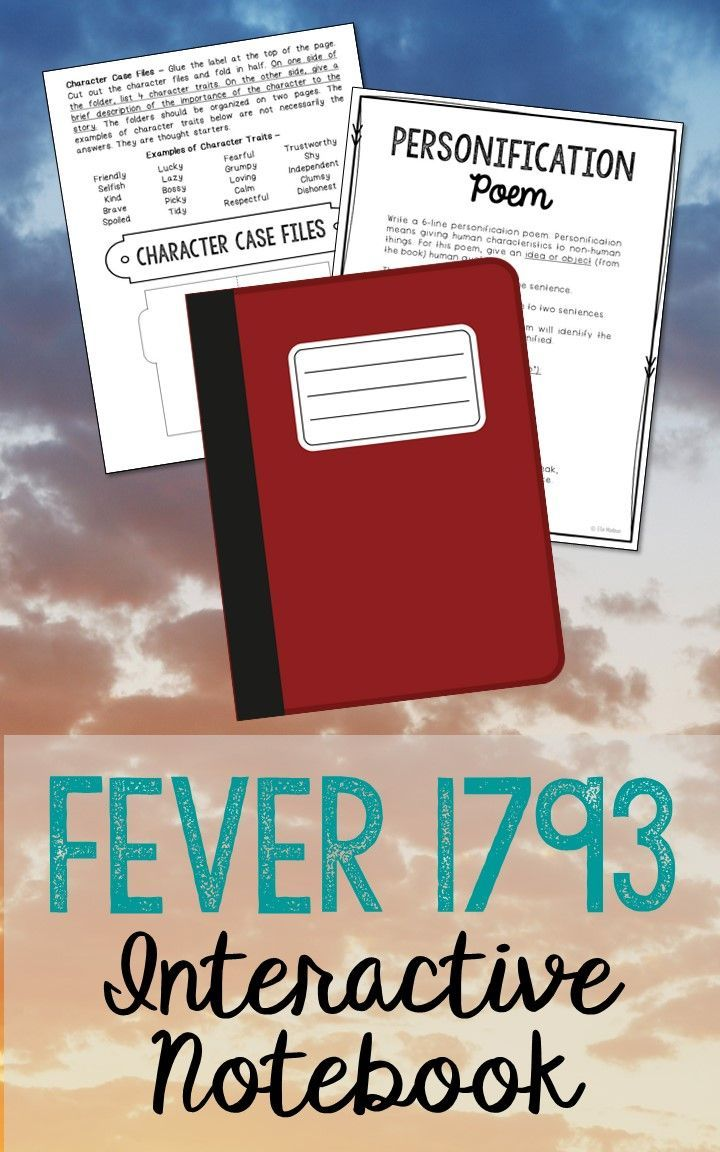 Fever 1793 by Laurie Halse Anderson. Low Prep and Stress-Free Interactive Notebook. This unit includes vocabulary terms, poetry, author biography research, themes, character traits, one-sentence chapter summaries, and note taking activities. A great variety of activities to keep your students engaged! This is a complete unit, but can be added to the materials you already have on hand. I use this INSTEAD of multiple choice comprehension tests and my students are super excited about reading…