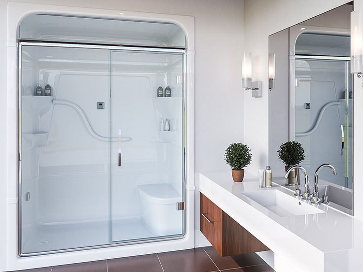 Shower unit:  SH5LS/RS - One piece Shower Stall with seat FD54PS (Plain, Silver) - FIXED PANEL PIVOT SHOWER DOOR