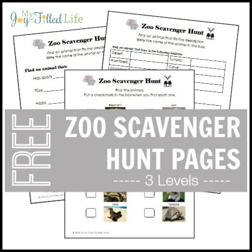 Zoo scavenger hunt pages--a fun and education activity for a vacation or field trip